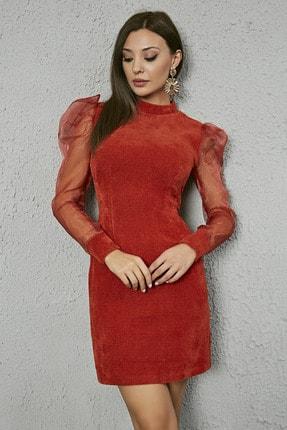 Sateen Kadın Tarçın Kabarık Omuz Kolları Organze Elbise
