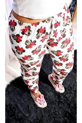 Muditashoptr Kadın Beyaz Mini Fare Kışlık Pijama Altı