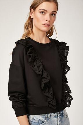 Bigdart Kadın Siyah Volan Gübür Detaylı Crop Sweat Bluz 4119