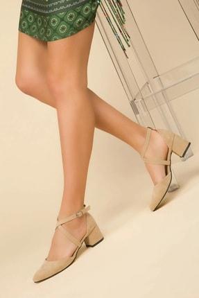 FEMA Kadın Vizon Süet Çapraz Klasik Topuklu Ayakkabı