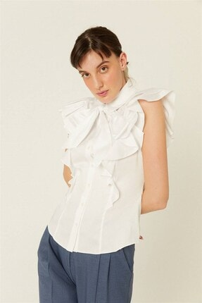 rue. Beyaz Fiyonk Ve Volan Detaylı Gömlek
