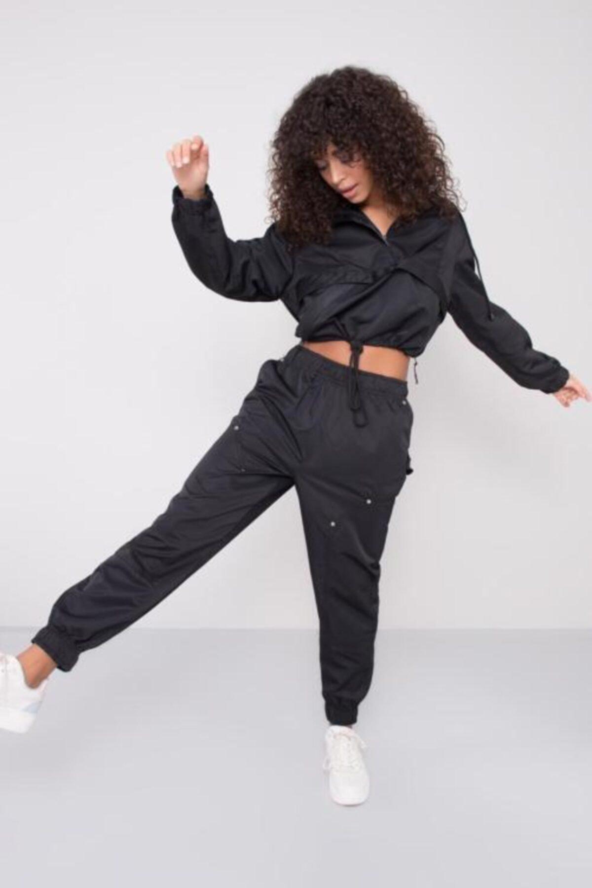 BSL Kadın Siyah Bel Paça Lastik Detaylı Pantolon 1