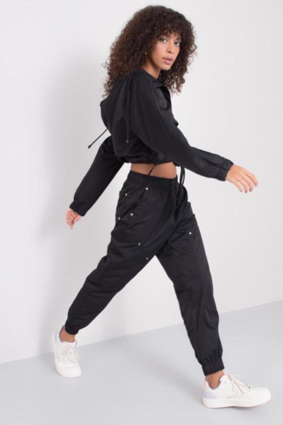 BSL Kadın Siyah Bel Paça Lastik Detaylı Pantolon 2