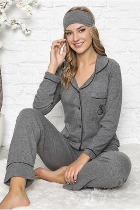 TEKTEN Kadın Gri  Önden Düğmeli Rahat Kesim Pijama Takımı