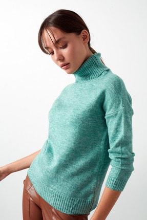 Lela Kadın Yeşil Balıkçı Yaka Triko Kazak Kadın Kazak 4614883