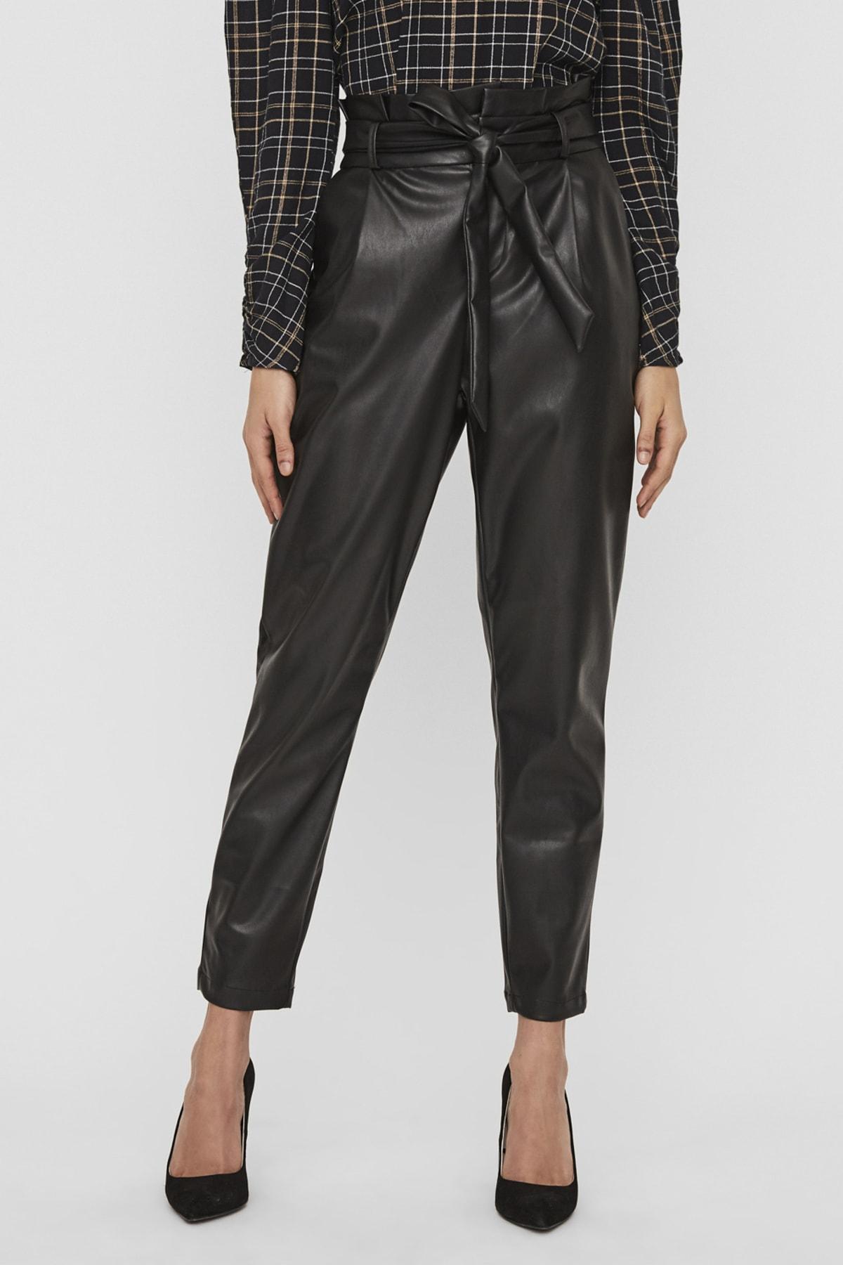 Vero Moda Kadın Siyah Paperbag Kaplama Deri Pantolon 10235819 VMEVA 2