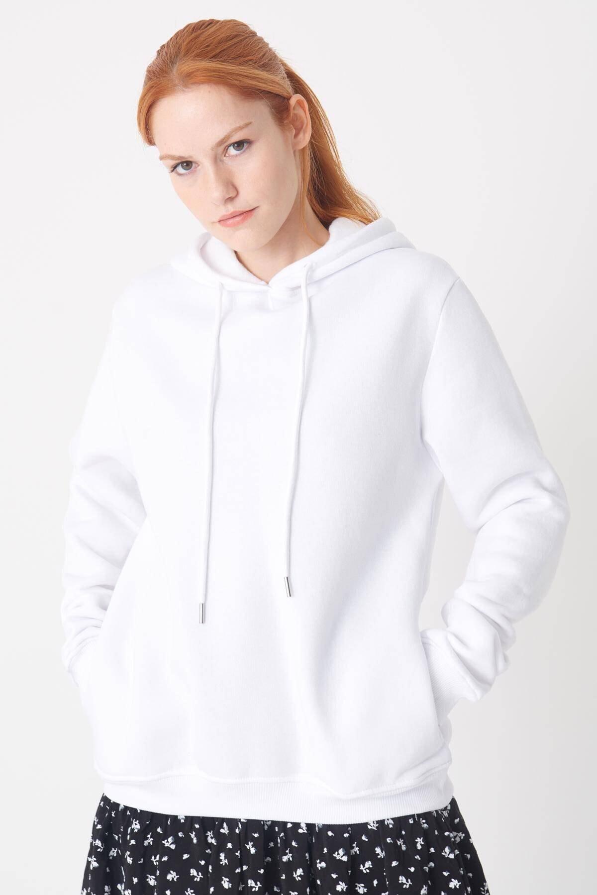Addax Kadın Beyaz Kapşonlu Sweat S0808 - DK1 ADX-0000021231 2