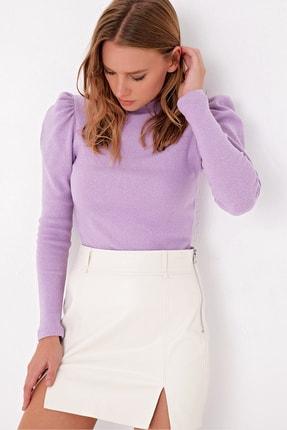 Trend Alaçatı Stili Kadın Lila Prenses Kol Yarım Balıkçı Şardonlu Crop Bluz ALC-X5042