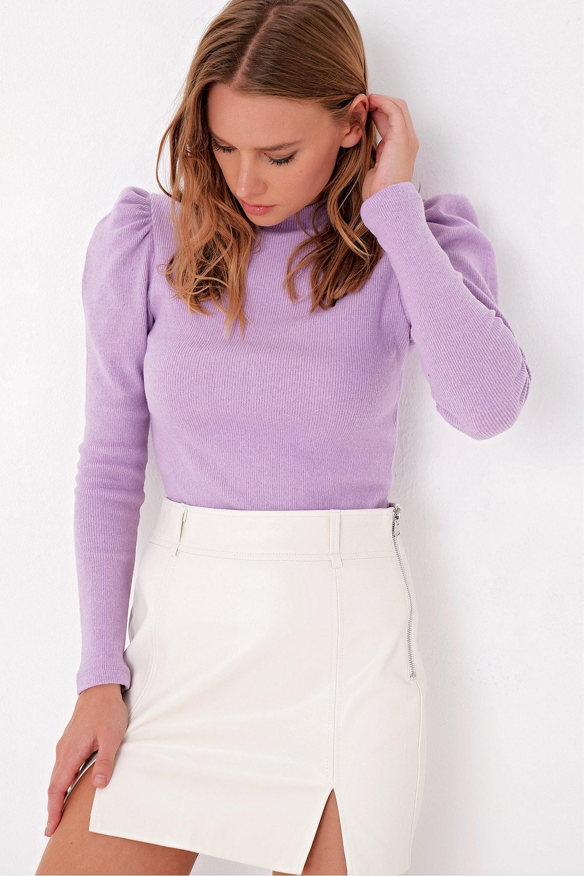 Trend Alaçatı Stili Kadın Lila Prenses Kol Yarım Balıkçı Şardonlu Crop Bluz ALC-X5042 1