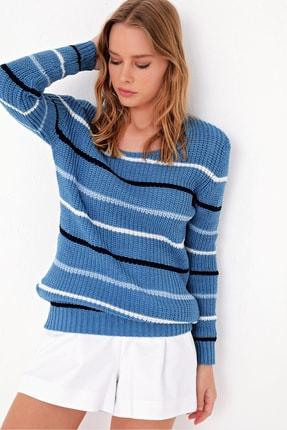 Trend Alaçatı Stili Kadın Mavi Çizgili Triko Kazak ALC-X5063