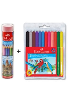 Faber Castell 12 Li Tüp Kuru Boya + Fiesta 12 Renk Keçeli Kalem