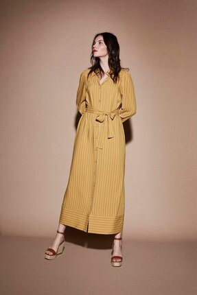 Latifa Kadın Safran Nells Çizgili Elbise