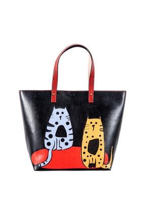 Biggdesign Kadın Kırmızı Kedi Baskılı Çanta
