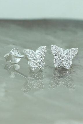 Tmec Silver 925 Ayar Gümüş Beyaz Taşlı Kelebek Küpe