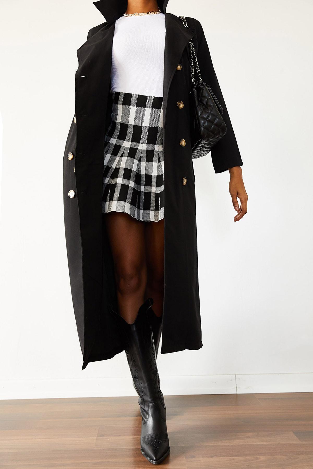 XENA Kadın Siyah Şal Yaka Düğmeli Trençkot 1KZK4-10759-02 2