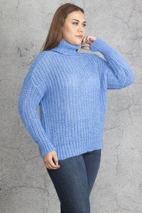 Şans Kadın Mavi Geniş Örgü Boğazlı Triko Kazak 65N19277