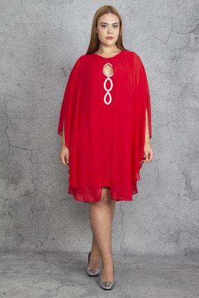 Şans Kadın Kırmızı Taş Ve Şifon Pelerin Detaylı Elbise 65N19194