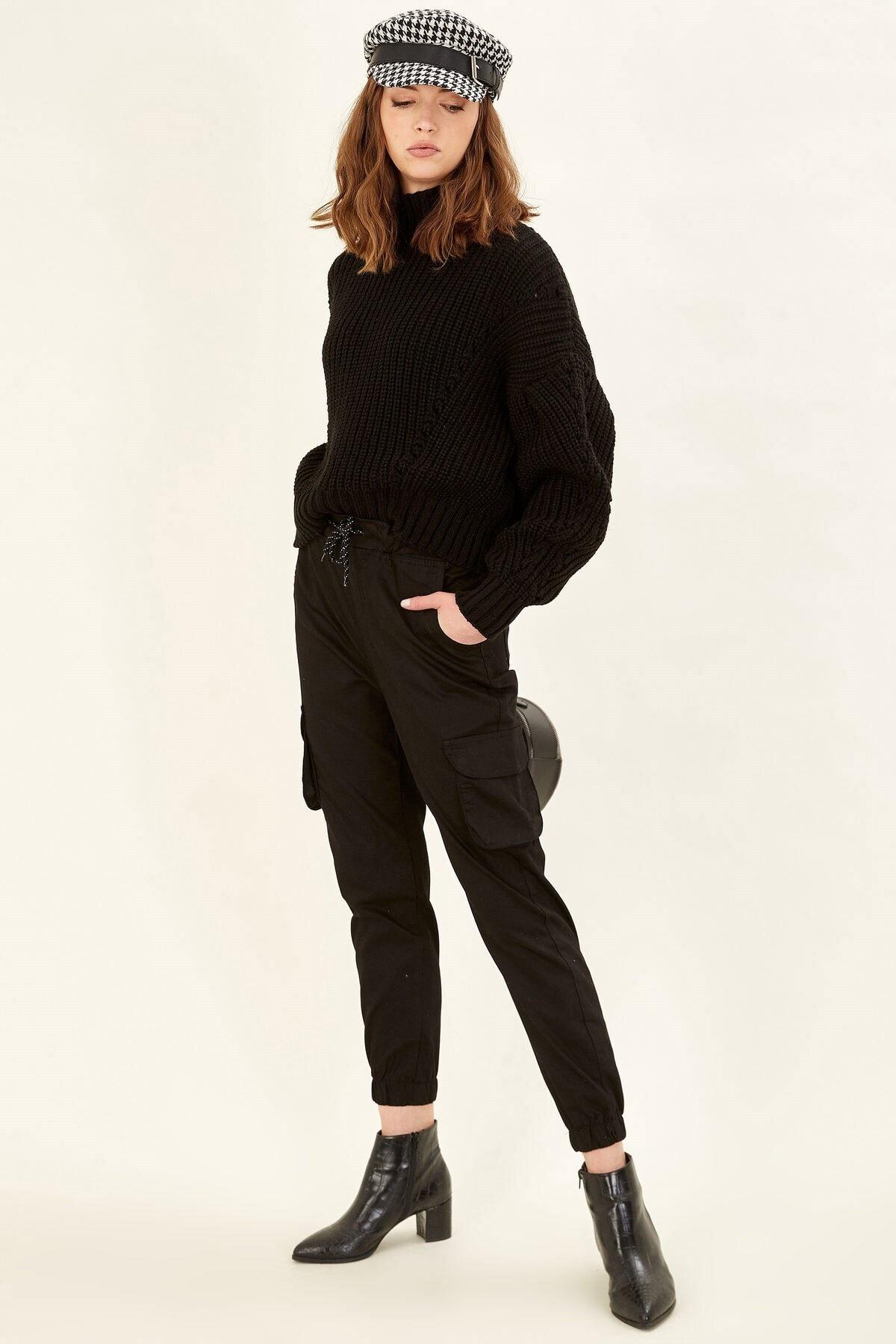 Arma Life Kadın Siyah Kargo Pantolon 1