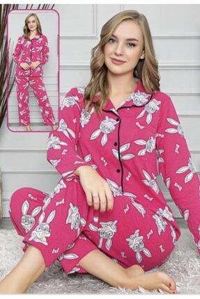 Şura19 Kadın Önden Düğmeli Pembe Tavşanlı Pijama Takımı