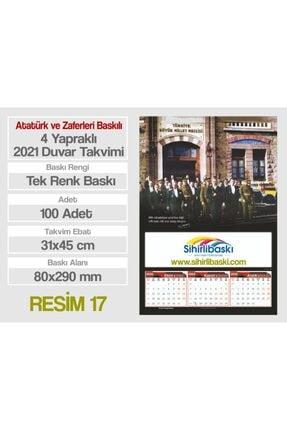 Sihirlibaskı 100 Adet 31x45 cm 4 Yapraklı Atatürk ve Zaferleri Baskılı 2021 Duvar Takvimi