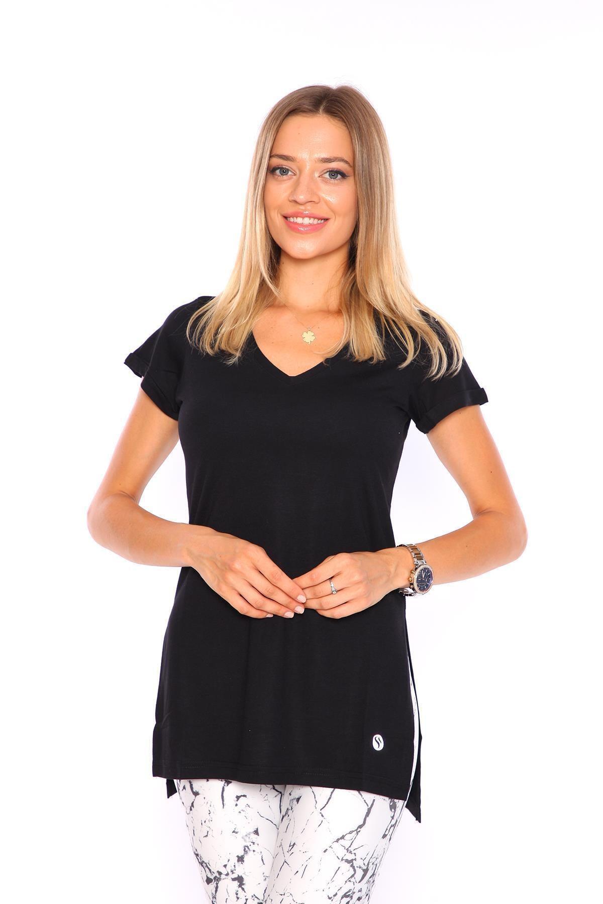 Superstacy Kadın Siyah V Yaka Yırtmaçlı Tunik Kadın Tshirt 1