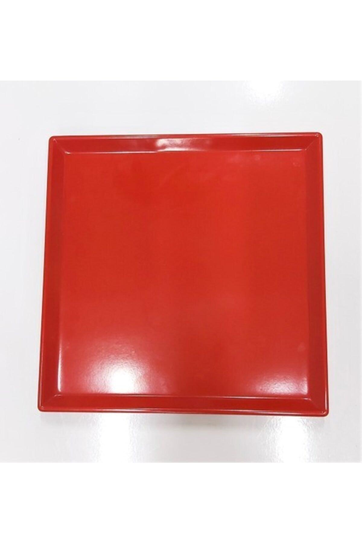 Evren 20*20cm Kırmızı Sunum Tabağı Thermo Melamin 1