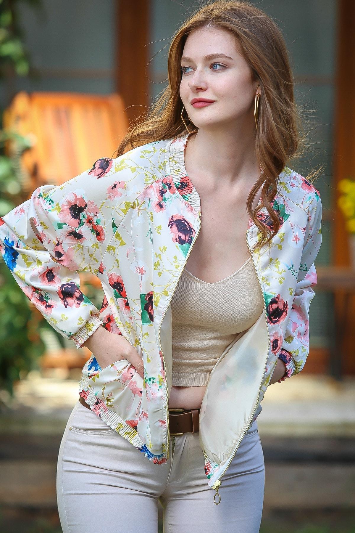 Chiccy Kadın Floral Vintage Gelincik Desenli Saten Bomber Ceket  M10210100CE99283