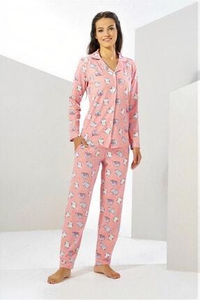 Estiva Kadın Pudra Kışlık Deluxe Önden Düğmeli Pijama Takımı