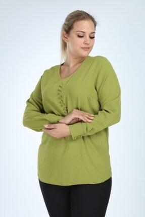 Lir Kadın Yeşil Büyük Beden Uzun Kol Düğmeli Bluz