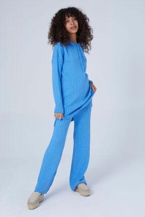 Eros Kadın Mavi Düğmeli Triko Takım