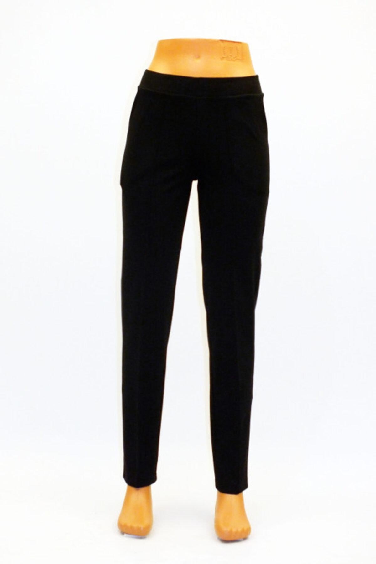 Otto Kadın Siyah Çelik Örgü Önden Ütü Izli Cepli Pantolon 1