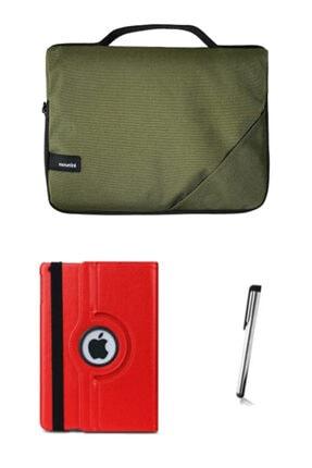 """Moserini Ipad Air2 9.7"""" Smart Slim Haki Tablet Çantası Kırmızı Dönerli Kılıf Kalem"""