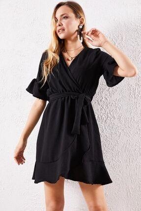 Zafoni Kadın Siyah Volanlı Elbise