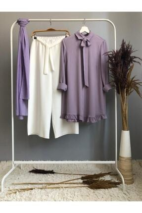 Ruj Moda Kombin-kurdela Ve Fırfır Detaylı Tunik Ve Pantolon