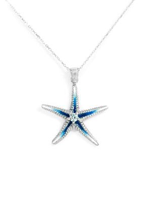 Od Takı Sanatı Kadın Mavi Deniz Yıldızı 925 Ayar Gümüş Mineli Kolye Kolye