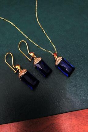 Dr. Stone Safir Rengi Hindistan Kristali Gümüş Set Xdrsott12