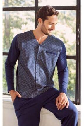 Eros Erkek Lacivert Gömlek Pijama Takımı Ese27100