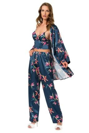 Siyah İnci Kadın Desenli 3'lü Saten Sabahlıklı Pijama Takım