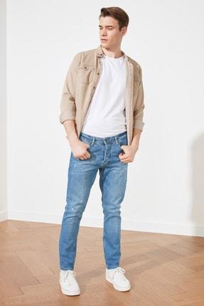 TRENDYOL MAN Mavi Erkek Normal Belli Tırmık Destroylu Slim Fit Jeans TMNSS21JE0644