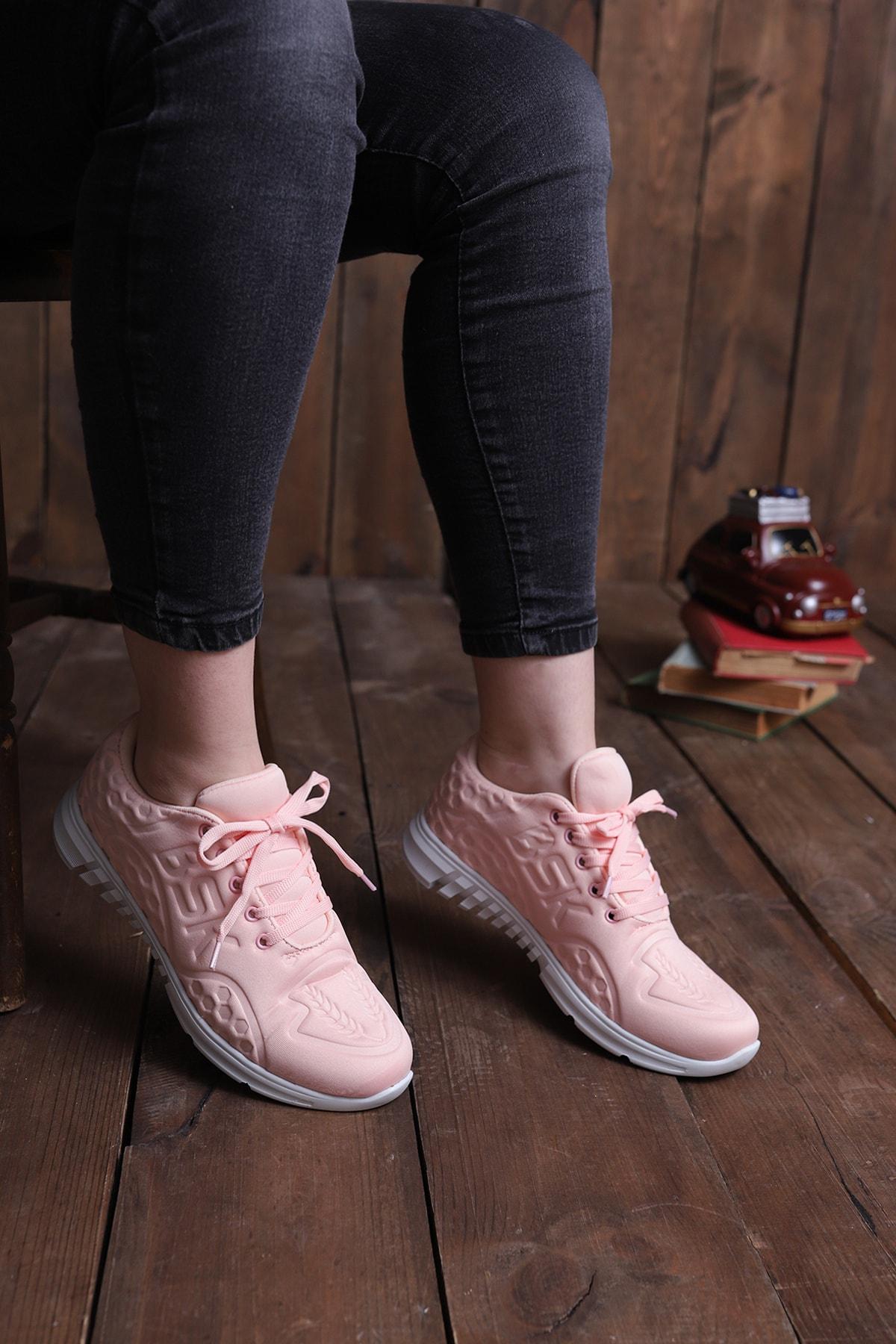 pasyone Kadın Pudra Sneaker Spor Ayakkabbı 1