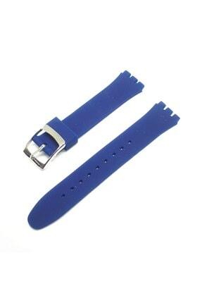 Swatch 17mm Uyumlu Lacivert Mavi Slikon Saat Kordonu