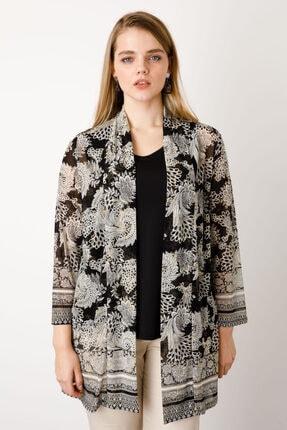 Ekol Kadın Siyah Tül Desenli Ceket
