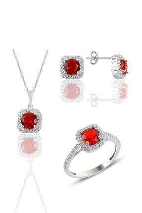 Söğütlü Silver Gümüş Rodyumlu Kırmızı Taşlı Kare Üçlü Set