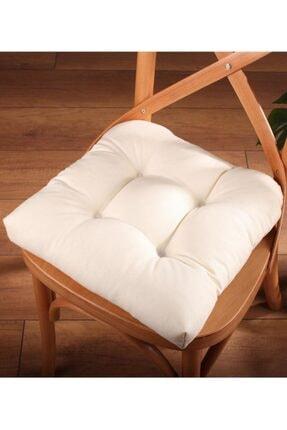 ALTINPAMUK Lüx Pofidik Krem Sandalye Minderi Özel Dikişli Bağcıklı 40x40cm