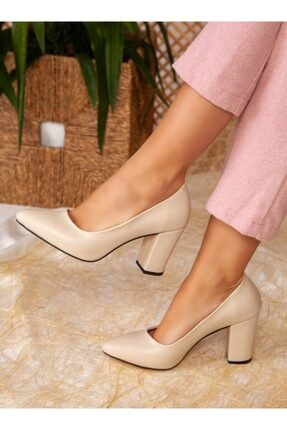 ayakkabıhavuzu Kadın Topuklu Ayakkabı - Bej Cilt - Ayakkabı Havuzu