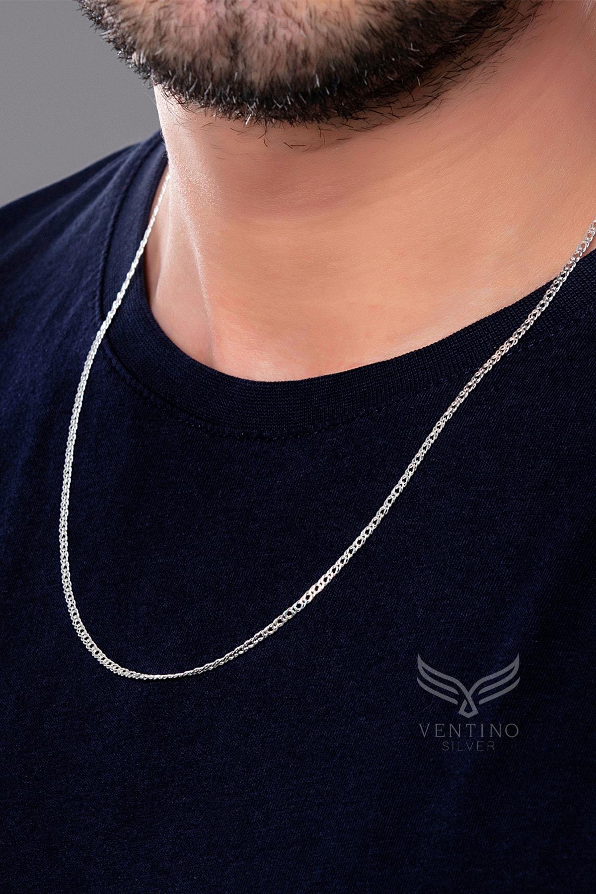 Ventino Silver Rambo Zincir Gümüş Erkek Kolye Vek-3082 1