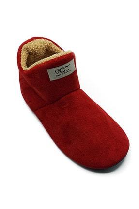 UCC Unisex Kırmızı Içi Yünlü Ev Pandufu Ev Botu Ev Ayakkabısı