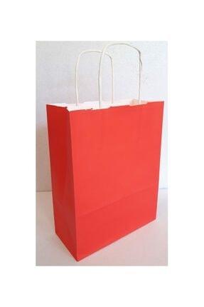 Kraft Kırmızı Çanta 25x31x12 ( 25 Adet ) ( Kağıt Poşet Çanta )