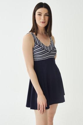 Dagi Kadın Lacivert Çizgili Elbiseli Mayo