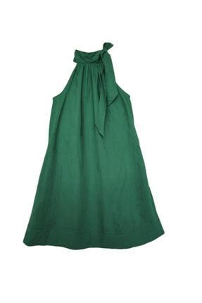 Mango Koyu Yeşil Yakası Fiyonklu Cepli Pamuk Elbise
